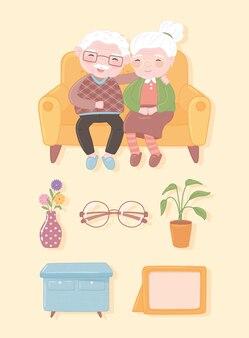 Ícones de casal de velhos