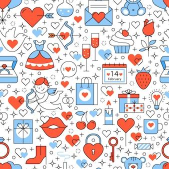 Ícones de casamento e casamento padrão quadrado sem costura