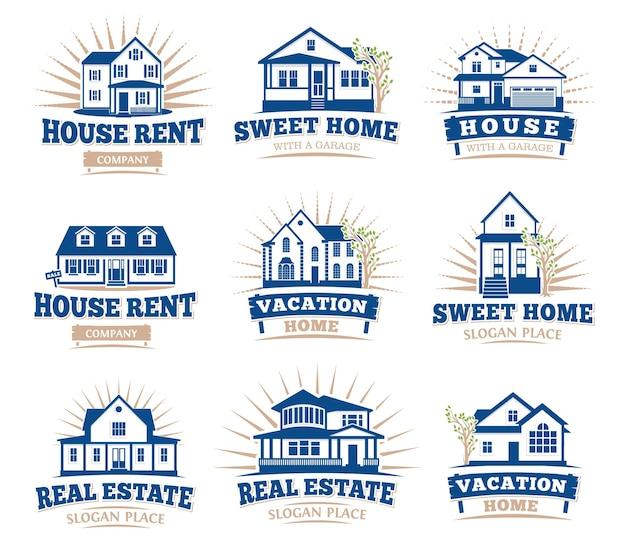 Ícones de casas arquitetônicas isoladas de cor azul