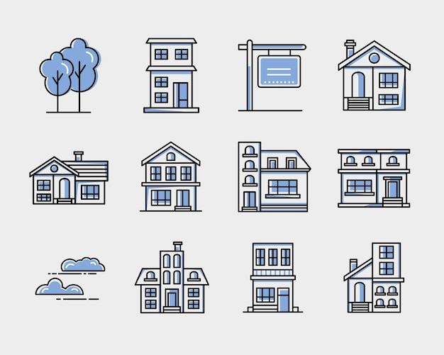 Ícones de casas na cidade