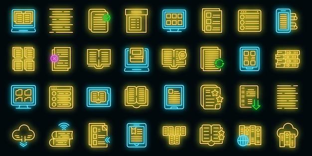 Ícones de catálogos eletrônicos definem néon de vetor