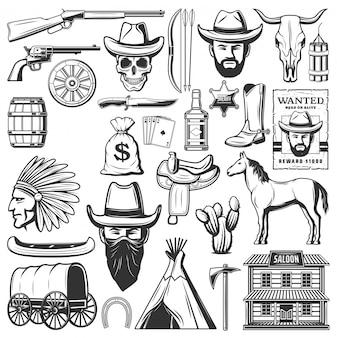 Ícones de caubói do oeste selvagem, itens ocidentais americanos