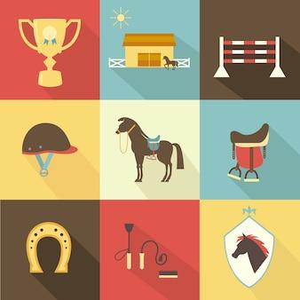 Ícones de cavalos e adestramento