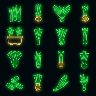 Ícones de cebolinhas definidas vetor de néon