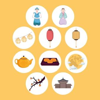 Ícones de celebração chuseok