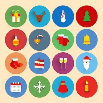 Ícones de celebração de temporada de férias de ano novo de natal conjunto com boneco de neve de veado de caixa de presente ...
