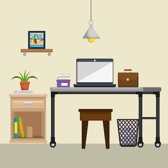 Ícones de cena do escritório local de trabalho