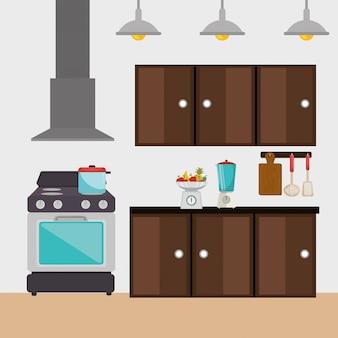 Ícones de cena moderna de cozinha