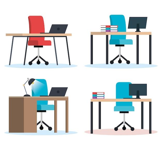 Ícones de cenas de locais de trabalho de escritório