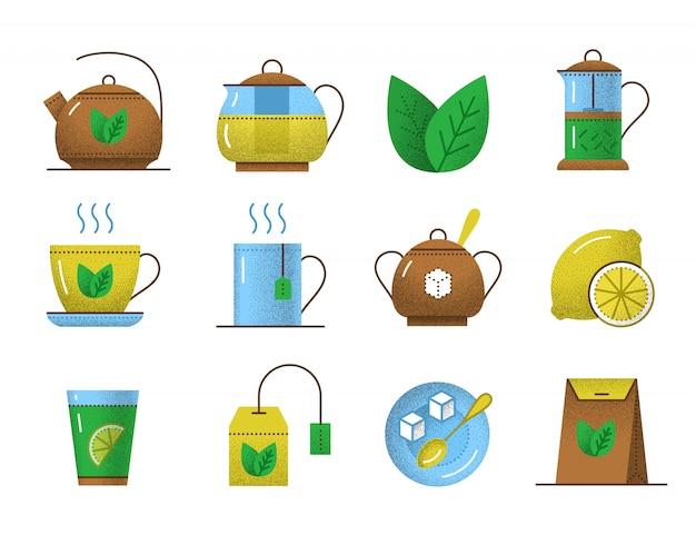 Ícones de chá com textura retrô
