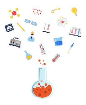 Ícones de ciência de estilo simples voando acima de ilustração de conceito de frasco