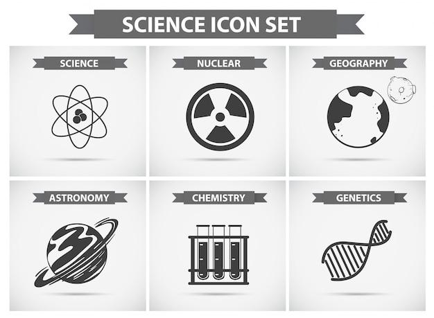 Ícones de ciência para diferentes campos de estudos