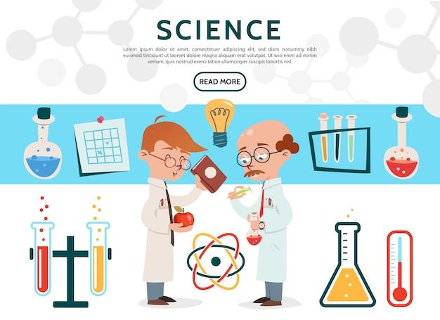 Ícones de ciência plana definidos com cientistas em tubos de laboratório, garrafas, termômetro de bulbo