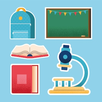 Ícones de cinco materiais escolares