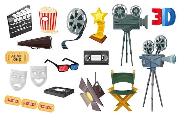 Ícones de cinema com câmera de filme