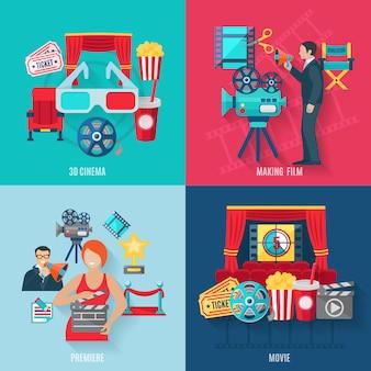 Ícones de cinema e estréia definida com estrelas de cinema de cinema 3d e diretor