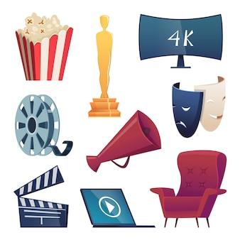 Ícones de cinema. símbolos de entretenimento dos desenhos animados óculos 3d lanches câmera pipoca megafone comédia máscaras badalo fotos