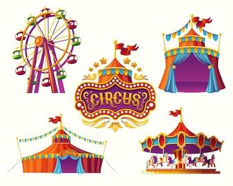 Ícones de circo de carnaval com uma barraca, carrosséis, bandeiras.
