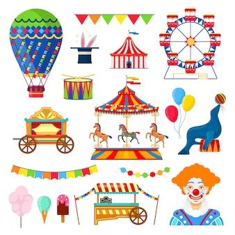 Ícones de circo e diversão