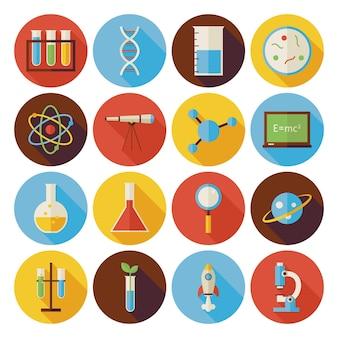 Ícones de círculo de ciência e educação planos definidos com sombra longa. ilustrações vetoriais de estilo simples. de volta à escola. coleção de química, biologia, física, astronomia e ícones de círculo de pesquisa