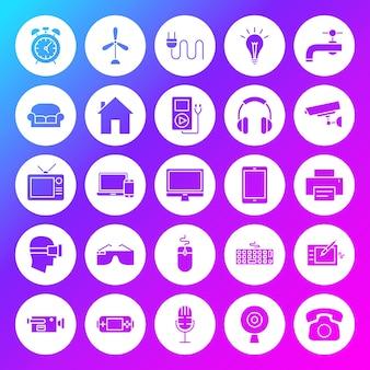 Ícones de círculo sólido de aparelhos domésticos. ilustração em vetor de glifos sobre fundo desfocado.