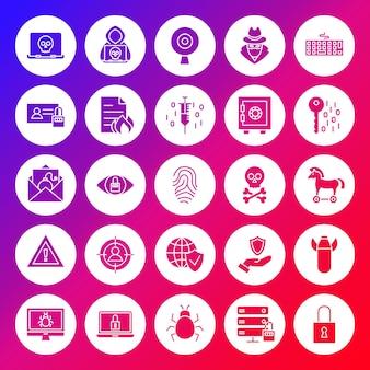 Ícones de círculo sólido de segurança de internet. ilustração em vetor de glifos sobre fundo desfocado.