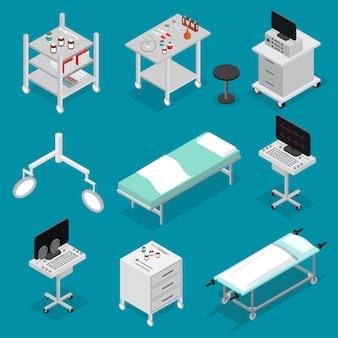 Ícones de cirurgia definir móveis de vista isométrica para o interior da clínica do hospital medicine. ilustração vetorial