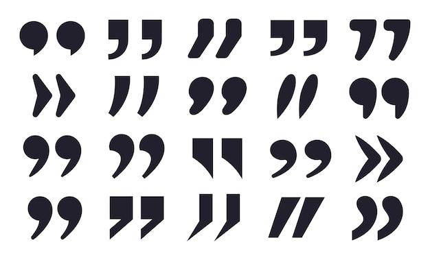 Ícones de citações conjunto de vetores de sinais de aspas, vírgula dupla, pontuação, texto, sinais