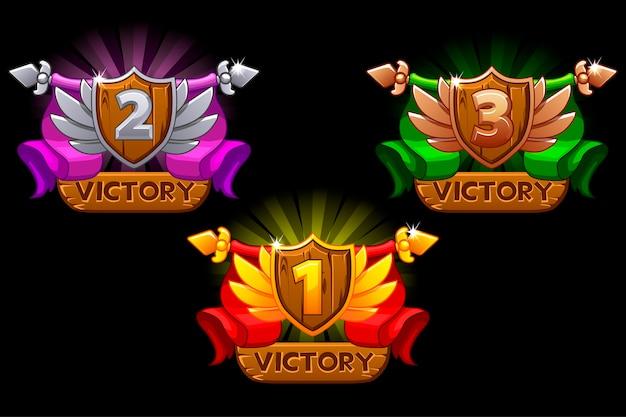 Ícones de classificação de jogos com escudos e fitas