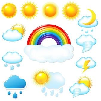 Ícones de clima brilhante definidos com ilustração de malha gradiente