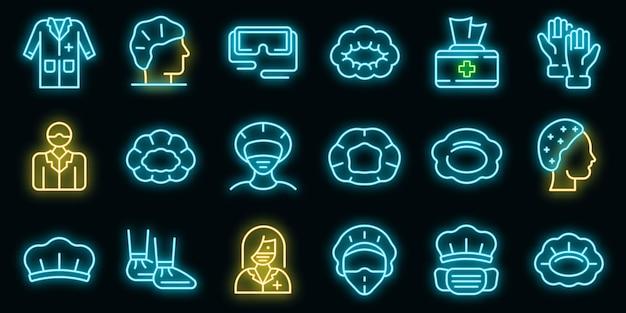 Ícones de cobertura de cabelo definidos vetor neon