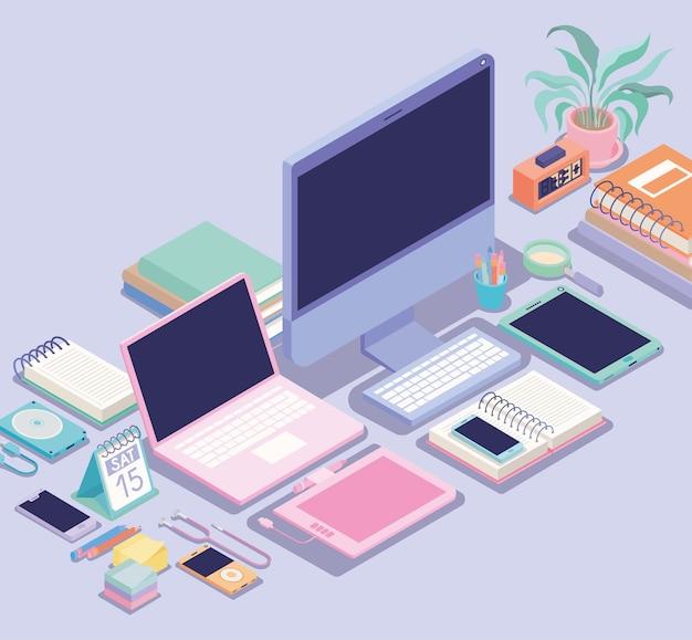 Ícones de coisas de escritório