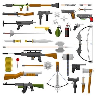 Ícones de coleção de armas de armas de vetor