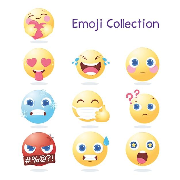 Ícones de coleção de emoji de mídia social, expressões variadas e ilustração de reações