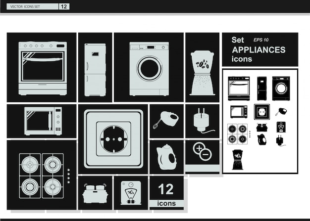 Ícones de coleção de vetores. aparelhos de cozinha