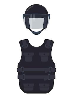 Ícones de colete à prova de balas e capacete isolados no fundo branco