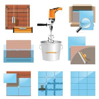 Ícones de colocação de azulejos vetoriais isolados no fundo branco