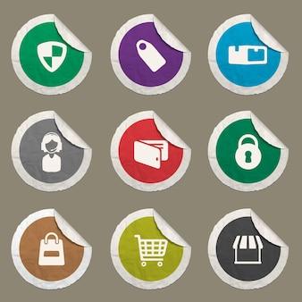 Ícones de comércio eletrônico definidos para sites e interface do usuário