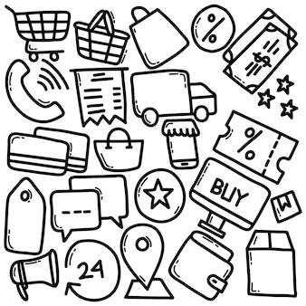 Ícones de comércio eletrônico desenhados à mão