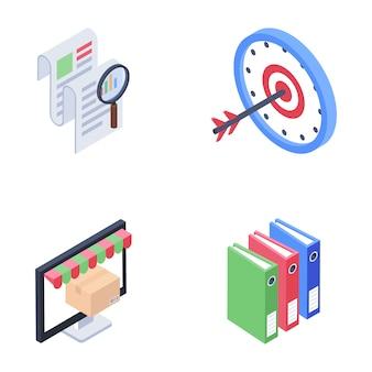 Ícones de comércio eletrônico e documentação