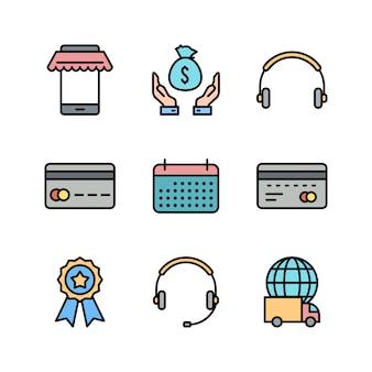 Ícones de comércio eletrônico isolados no branco