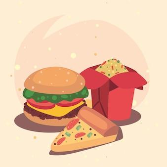 Ícones de comida chinesa e fast food