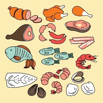 Ícones de comida conjunto de carne e peixe