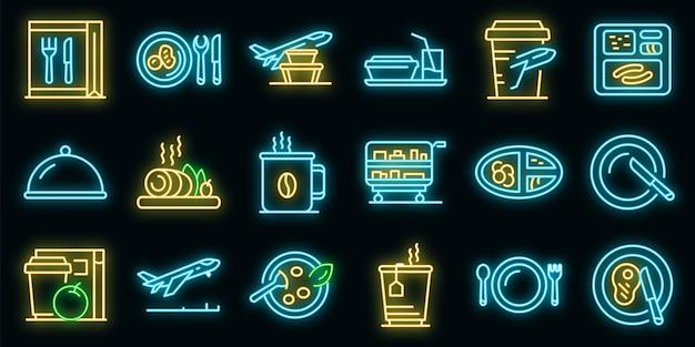 Ícones de comida de avião definido vetor néon