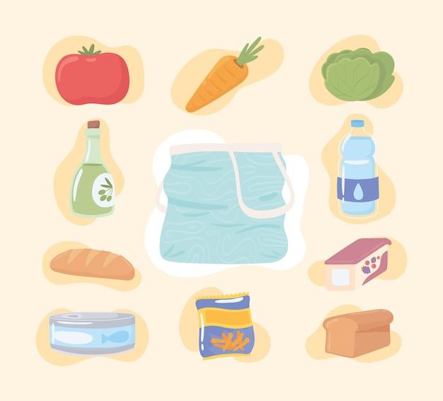 Ícones de comida de mercearia