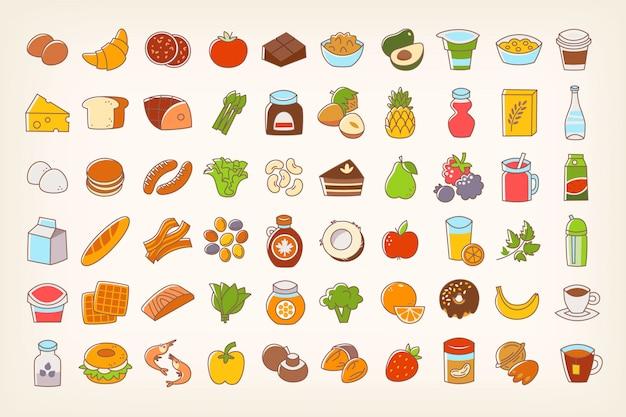 Ícones de comida de traço de linha colorida