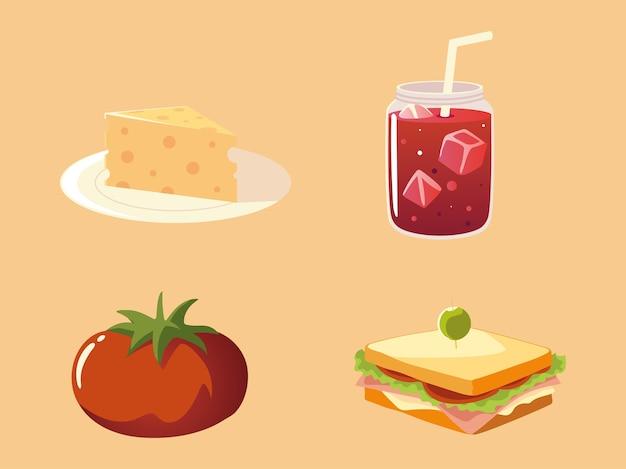 Ícones de comida definir sanduíche de suco de tomate e ilustração de queijo
