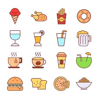 Ícones de comida e bebida criam sinais simples ilustração do logotipo de design