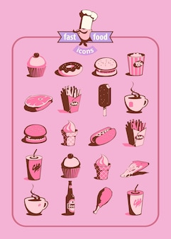 Ícones de comida e bebida definidos em estilo retro. ilustração vetorial