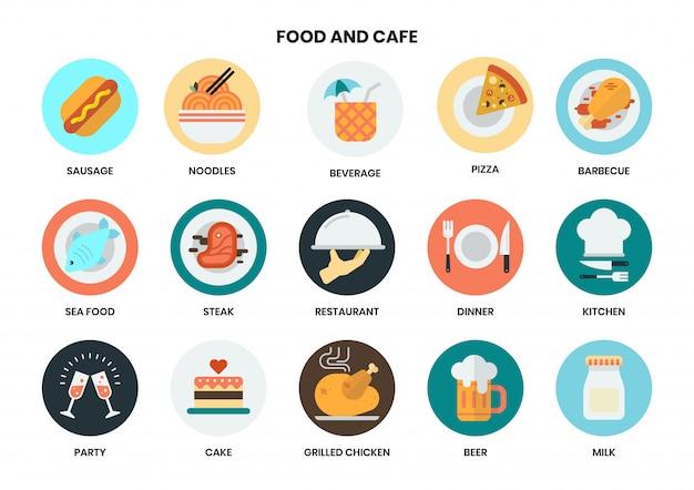 Ícones de comida e café para negócios